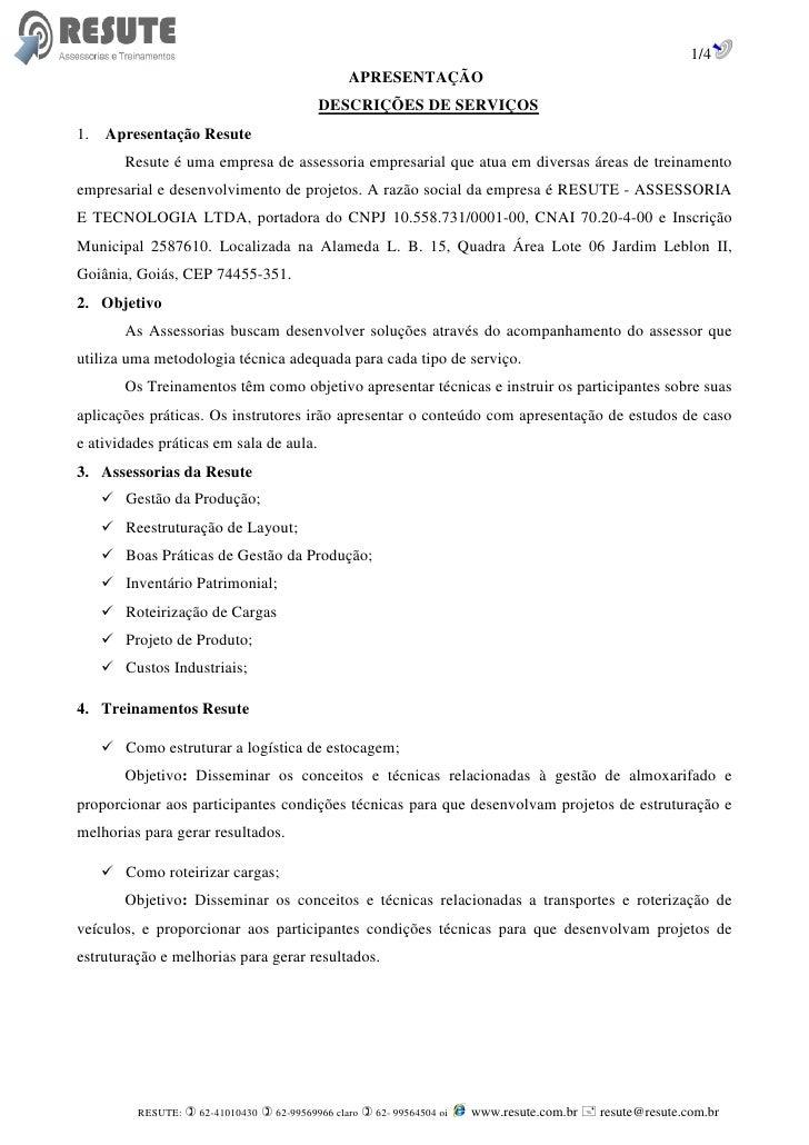1/4                                                APRESENTAÇÃO                                          DESCRIÇÕES DE SER...