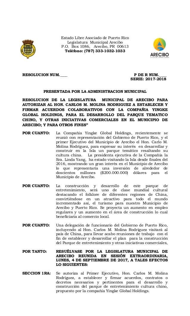 Estado Libre Asociado de Puerto Rico Legislatura Municipal Arecibo P.O. Box 1086, Arecibo, PR 00613 Teléfono: (787) 333-10...