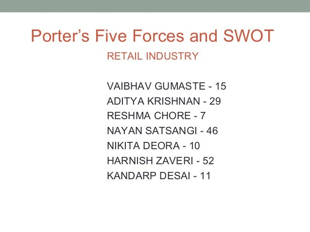 Porter's Five Forces and SWOT         RETAIL INDUSTRY         VAIBHAV GUMASTE - 15         ADITYA KRISHNAN - 29         RE...