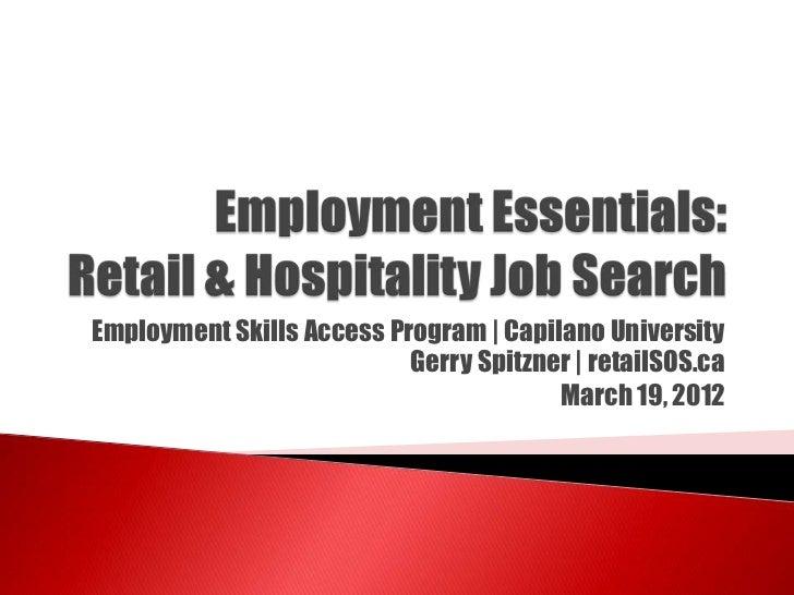 Employment Skills Access Program | Capilano University Gerry Spitzner ...