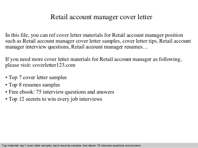 Retail account manager cover letter for What to write in a cover letter for retail