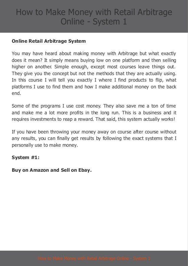 Ebay Amazon Retail Arbitrage System