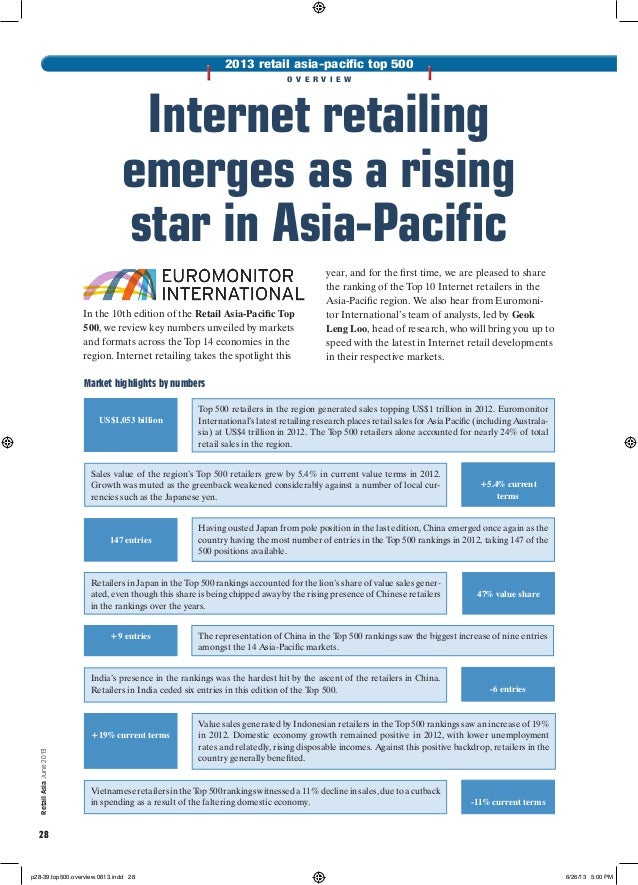 RetailAsiaJune2013 28 2013 retail asia-pacific top 500 o v e r v i e w Internet retailing emerges as a rising star in Asia...