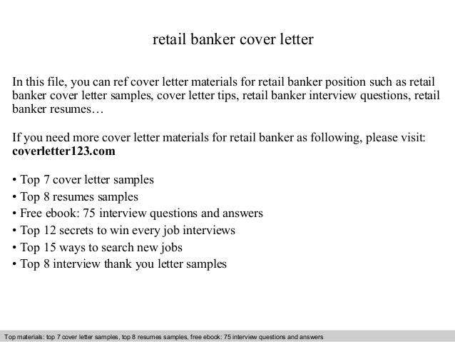 Retail Banker Cover Letter In This File You Can Ref Materials For