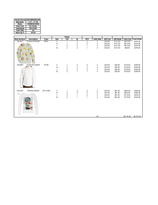 Vendor Name BLOOMINGDALES Ship Date 11/1 - 11/15 Notes: THANKSGIVING Total Cost $2,156.00 Total Retail $5,319.00 Total Uni...