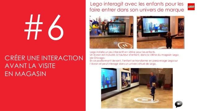 #6 Lego installe un jeu interactif en vitrine pour les enfants. Un écran est incrusté, à hauteur d'enfant, dans la vitrine...