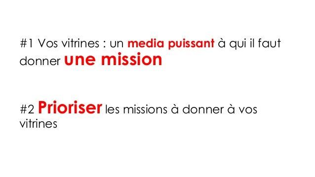 #1 Vos vitrines : un media puissant à qui il faut donner une mission #2 Prioriserles missions à donner à vos vitrines