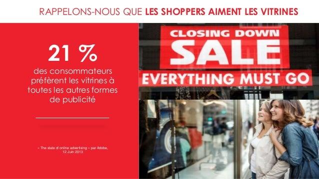 RAPPELONS-NOUS QUE LES SHOPPERS AIMENT LES VITRINES 21 % des consommateurs préfèrent les vitrines à toutes les autres form...
