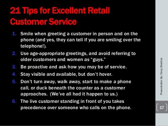 Retail Customer Service .  Define Excellent Customer Service