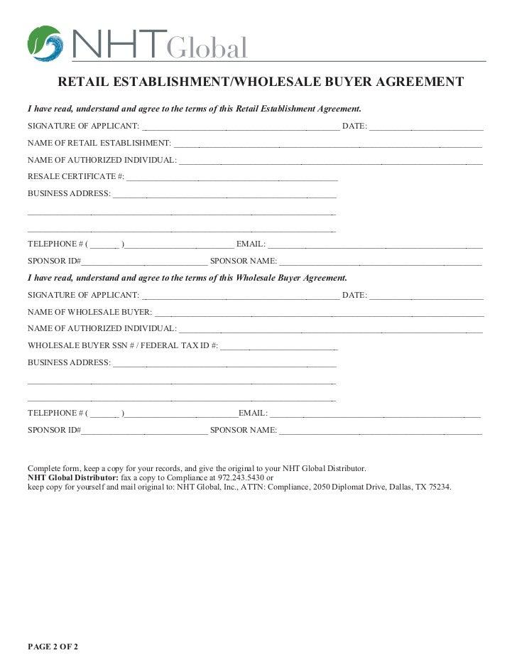 Retail Establishment Agreement