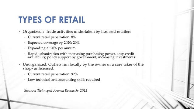 emerging retail formats in india Distribution challenges and workable solutions  to other emerging markets the average retail outlet in india is very small in terms of area, number of employees.
