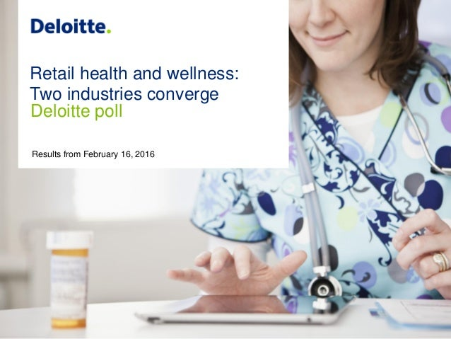 1 Retail health and wellness--Two industries converge: Deloitte poll Copyright © 2016 Deloitte Development LLC. All rights...