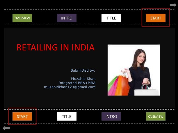 OVERVIEW<br />EVOLUTION<br />INTRO<br />TITLE<br />START<br />RETAILING IN INDIA<br />Submitted by:<br />Muzahid Khan<br /...