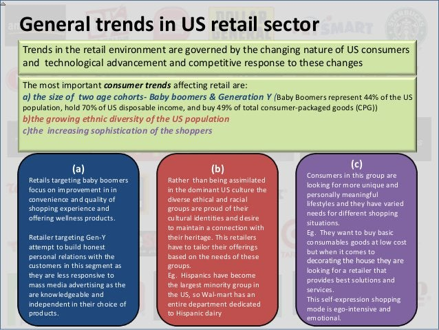 General trends in US retail sectorTrends in the retail environment are governed by the changing nature of US consumersand ...