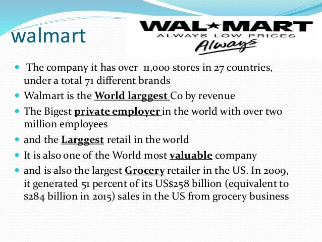 wal mart case study Access to case studies expires six months after purchase date publication date: june 15, 2011 in 2011, walmart was the world's largest company, with $420 billion in.