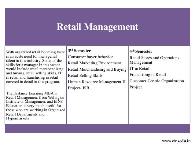 Distance Learning MBA in Retail Management from Welingkar