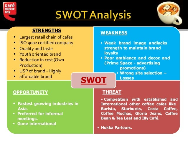 costa coffee swot The purpose of this report is to find and diagnose the main problems costa coffee facing currently in the development of chinese market, based on the detailed introduction to the development of company in china, combined with the pestel model, swot analysis for the company's internal and external environments then, this report will put forward.