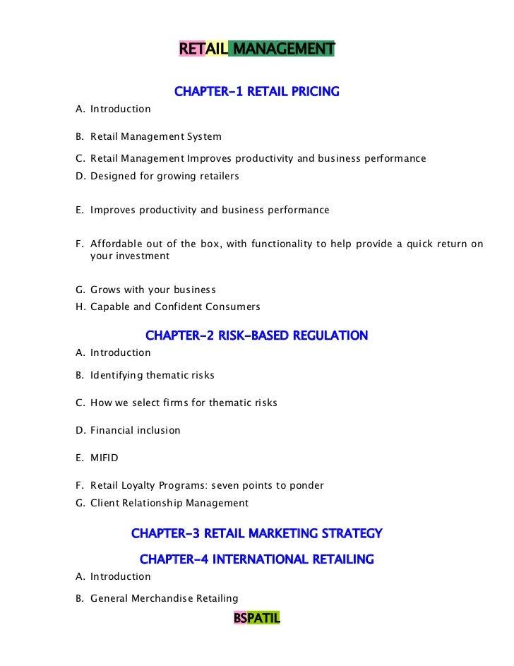 RETAIL MANAGEMENT                    CHAPTER-1 RETAIL PRICINGA. IntroductionB. Retail Management SystemC. Retail Managemen...
