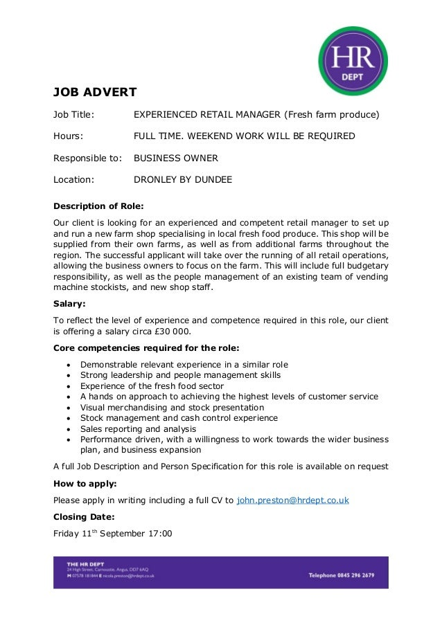Retail Manager Dronley £30K