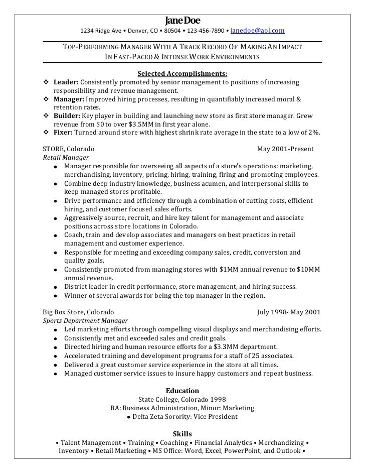 retail manager sample resume jane doe1234 ridge ave denver co 80504 - Resume Examples For Retail Sales