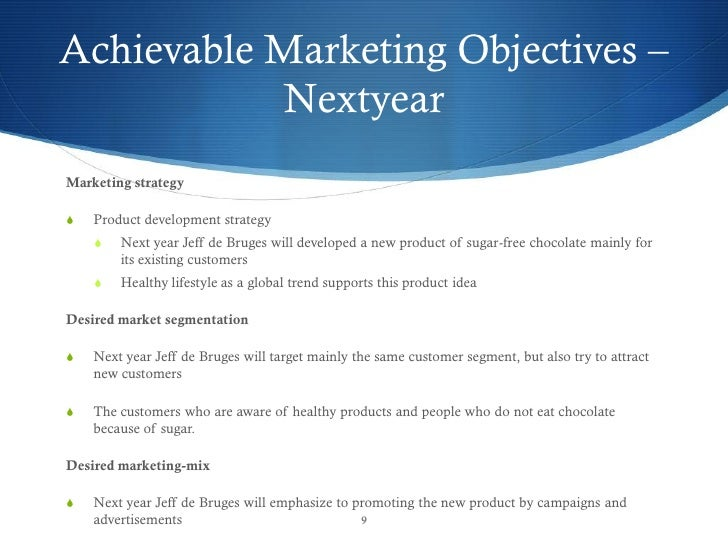 Free Marketing Plan Sample Of A Chocolate Retail And Manufacturer Je