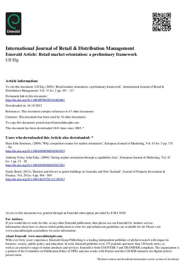 International Journal of Retail & Distribution ManagementEmerald Article: Retail market orientation: a preliminary framewo...