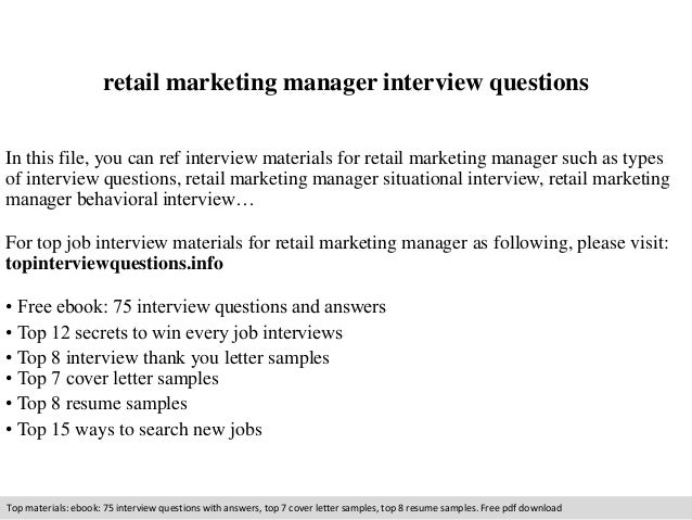 retail marketing manager interview questions