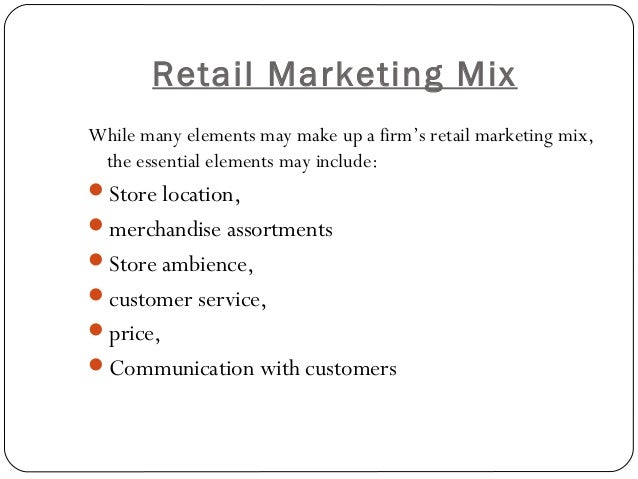 elements of marketing mix To successfully market a service business, it is important to understand the eight elements of service marketing: place, people, knowledge, value, relationships, problem-solving, specialization and product.
