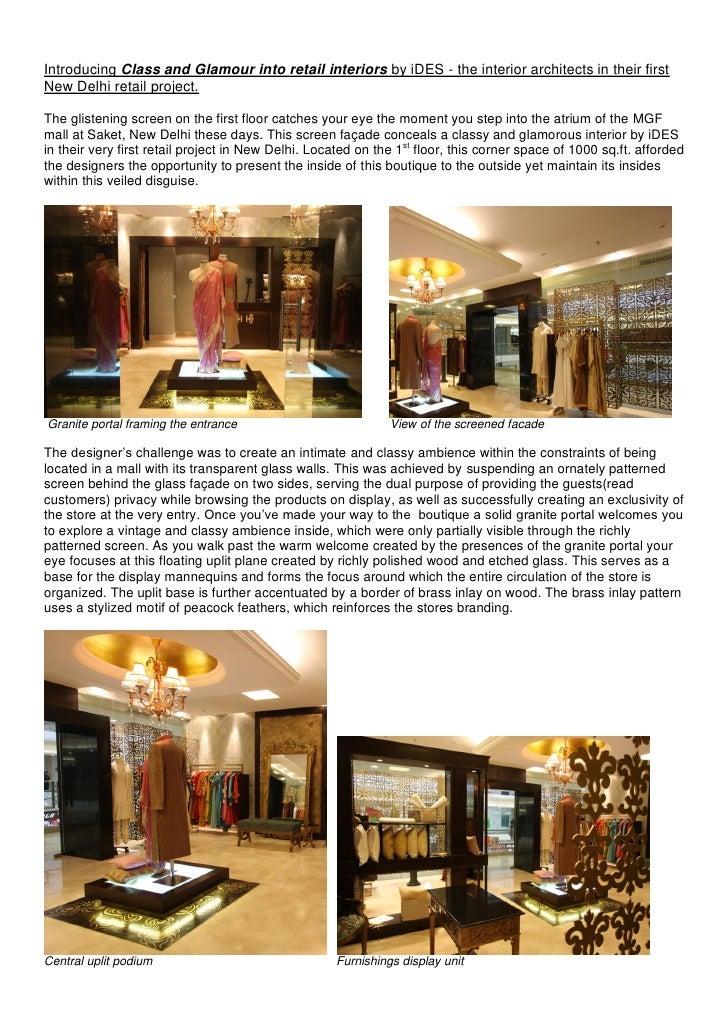 Retail interior design project mgf mall delhi by i des for Spaces architecture studio delhi