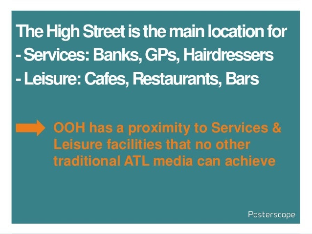 TheHighStreetisthemainlocationfor -Services:Banks,GPs,Hairdressers -Leisure:Cafes,Restaurants,Bars OOH has a proximity to ...