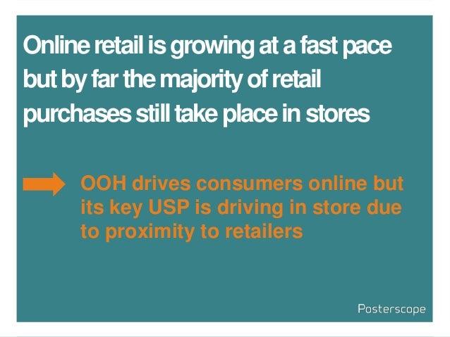 Onlineretailisgrowingatafastpace butbyfarthemajorityofretail purchasesstilltakeplaceinstores OOH drives consumers online b...