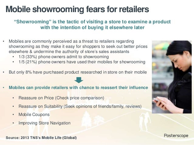 """Mobile showrooming fears for retailers """"Showrooming"""" is the tactic of visiting a store to examine a product with the inten..."""