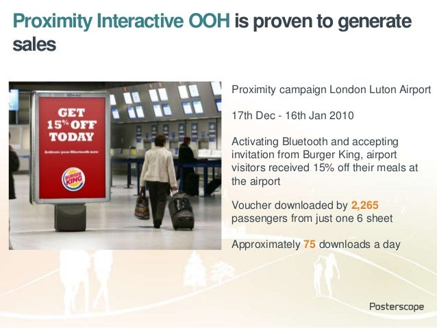 Proximity Interactive OOH is proven to generate sales Voucher downloaded by 2,265 passengers from just one 6 sheet Approxi...
