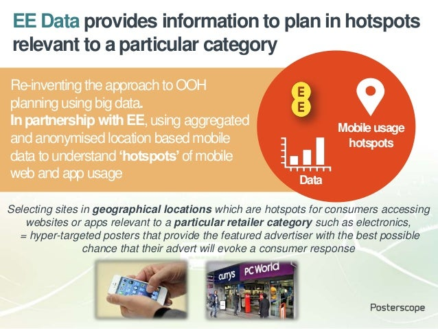 Mobileusage hotspots Data Re-inventing theapproach to OOH planning using big data. Inpartnership withEE, using aggregated ...