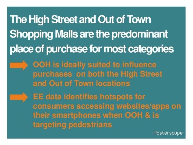 TheHighStreetandOutofTown ShoppingMallsarethepredominant placeofpurchaseformostcategories OOH is ideally suited to influen...