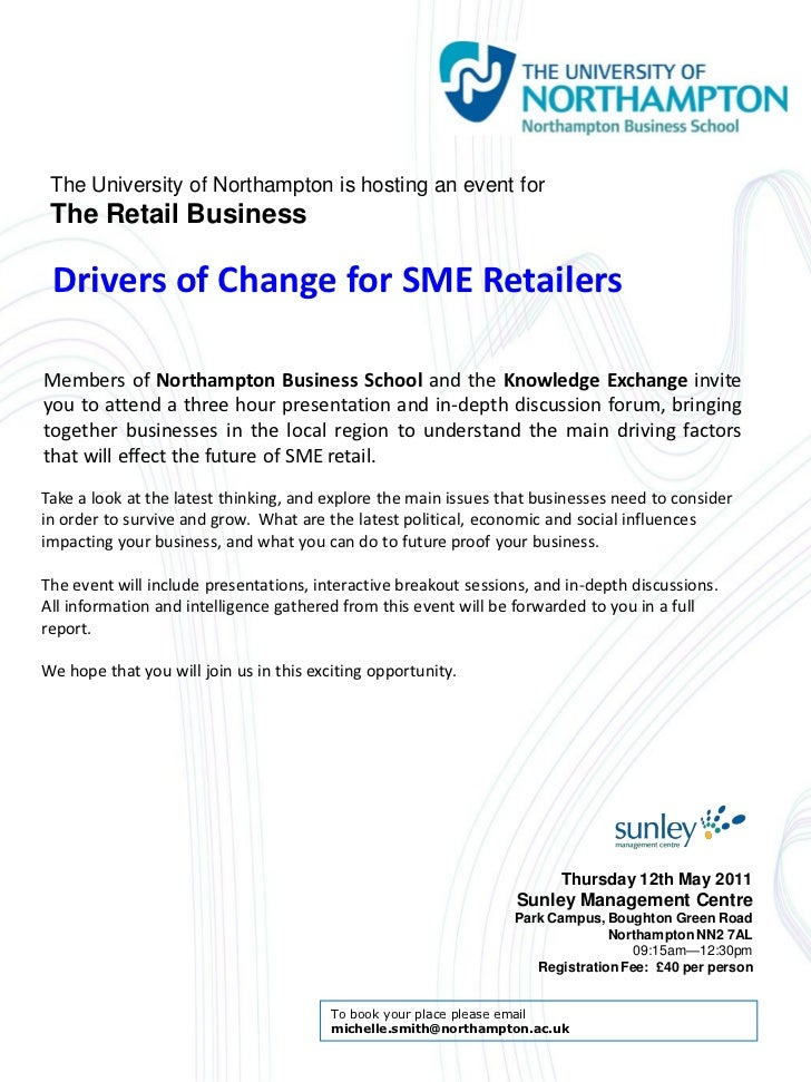 The University of Northampton is hosting an event for The Retail Business Drivers of Change for SME RetailersMembers of No...