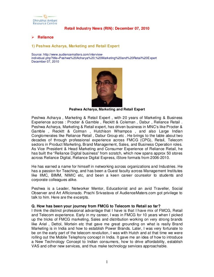 Retail Industry News (RIN): December 07, 2010   Reliance1) Peshwa Acharya, Marketing and Retail ExpertSource: http://www.a...