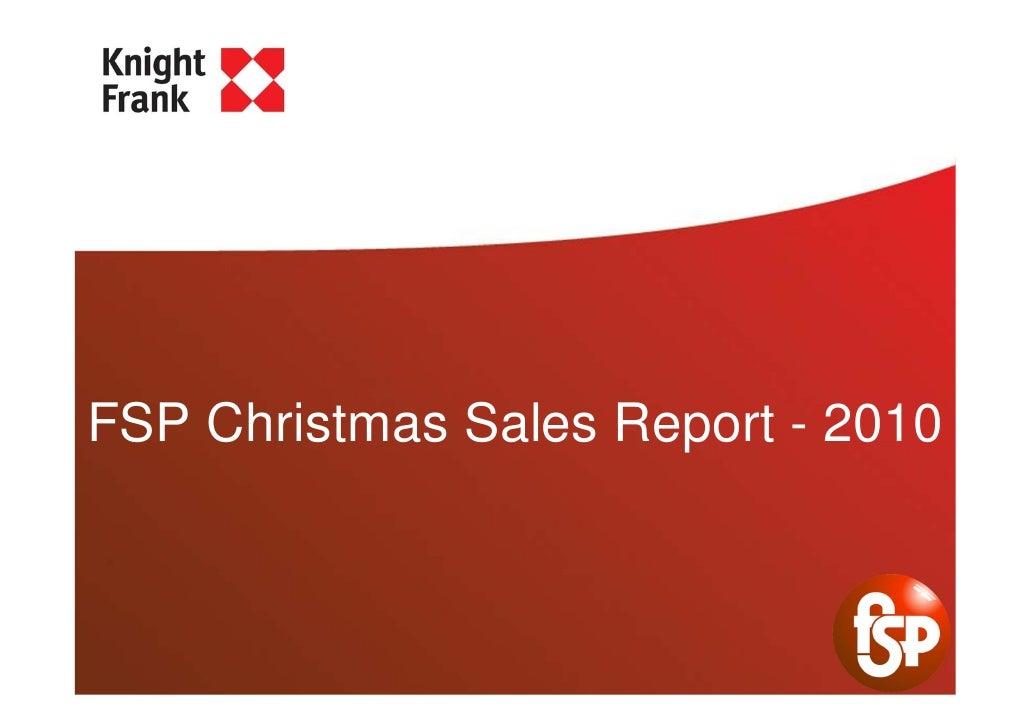 FSP Christmas Sales Report - 2010
