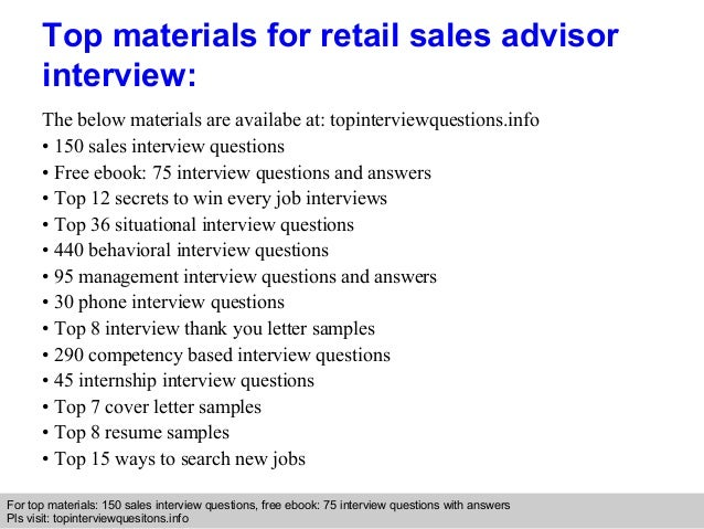Retail sales advisor interview questions and answers