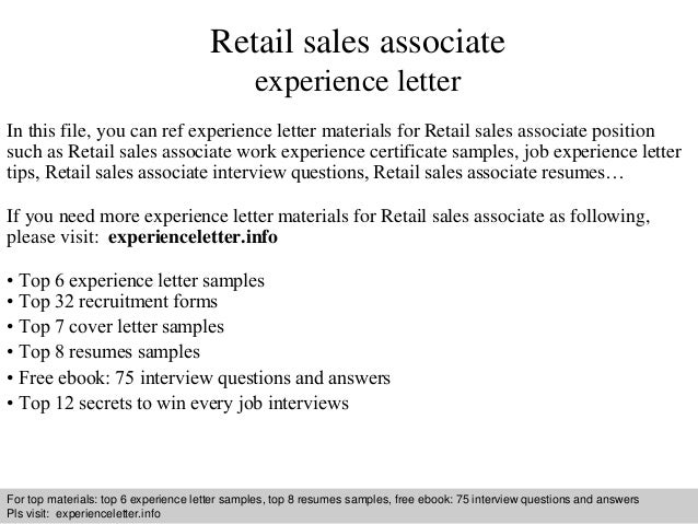 Retail Sales Associate Experience Letter . Cover ...