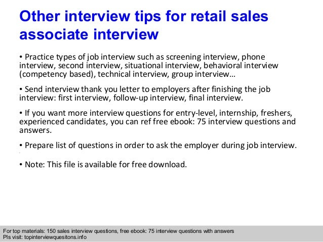 Retail sales associate interview questions and answers