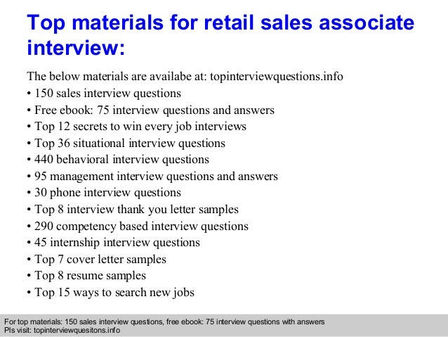 Charming Retail Interview Questions And Answers Sales Associate