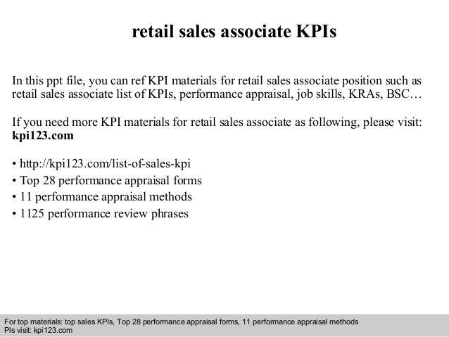 Retail Sales Associate Kpis