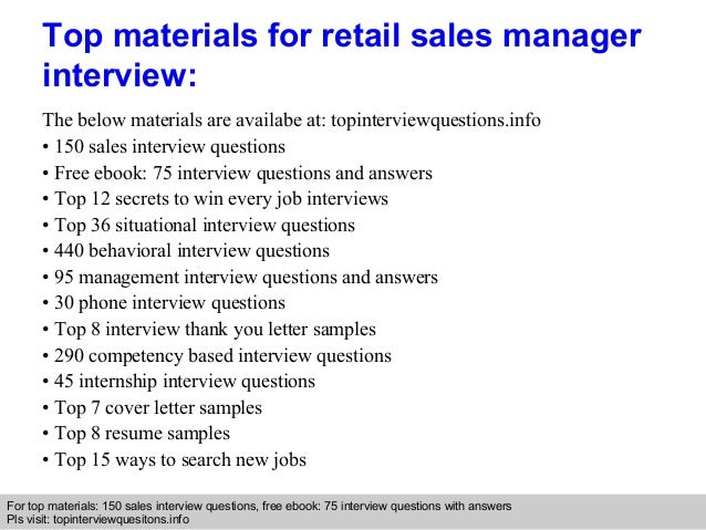 Retail sales manager interview questions and answers