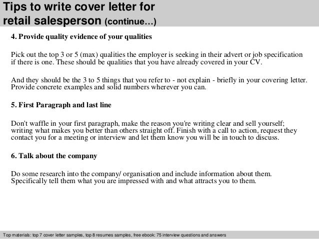 Retail salesperson cover letter
