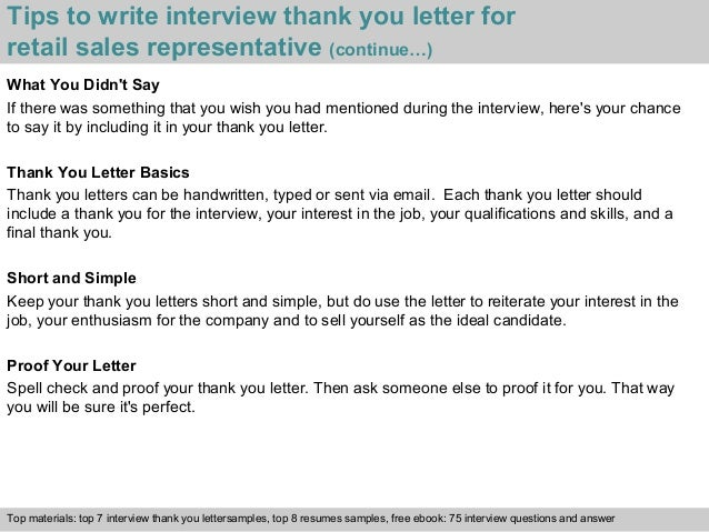 Retail sales representative 4 tips to write interview thank you letter for retail sales expocarfo Choice Image