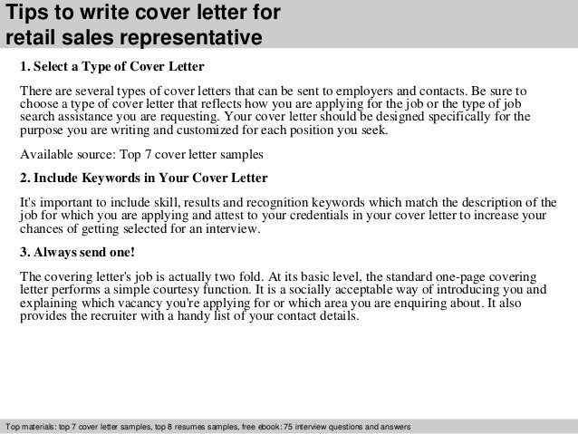 3 tips to write cover letter for retail sales representative