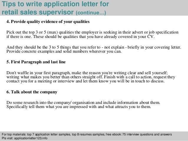 Retail sales supervisor application letter