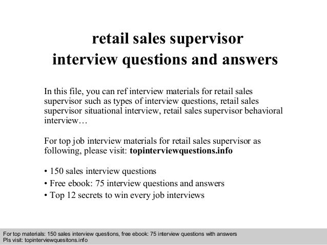 Interview Questions And Answers U2013 Free Download/ Pdf And Ppt File Retail  Sales Supervisor Interview ...