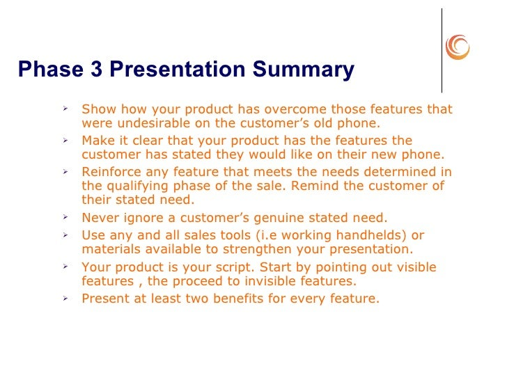 sales presentation of a product